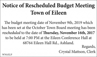 Notice of Rescheduled Budget Meeting
