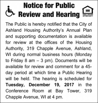 Notice for Public Review and Hearing