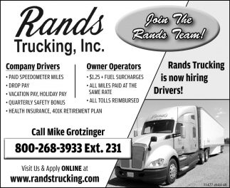 Join The Rands Trucking Team!