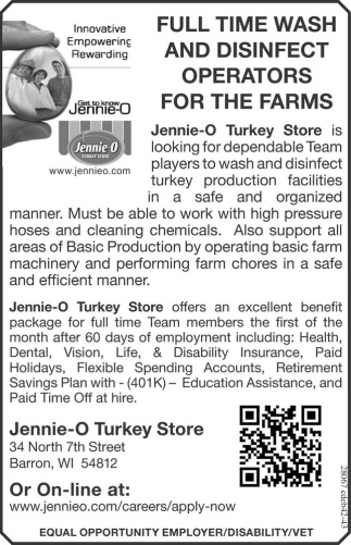 FULL TIME WASH AND DISINFECT OPERATORS FOR THE FARMS
