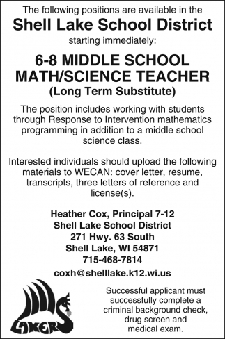 6-8 Middle School Math/Science Teacher