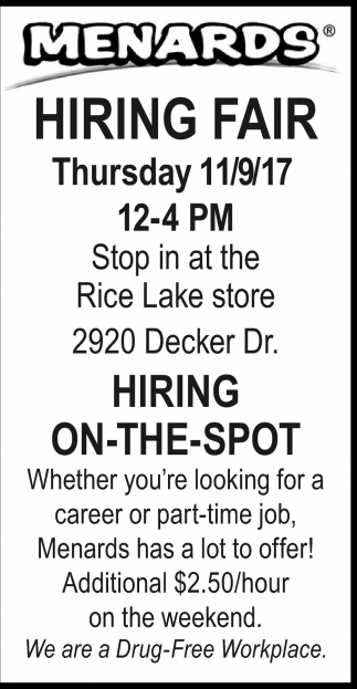 Hiring Fair, Menards, Rice Lake, WI