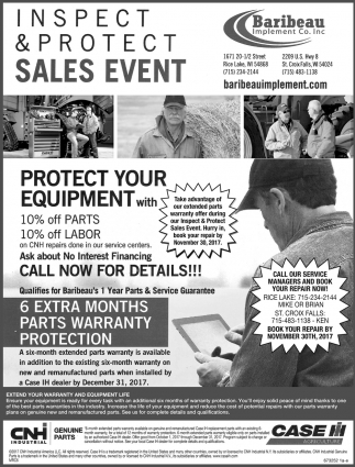 Inspect & Protect Sales Event