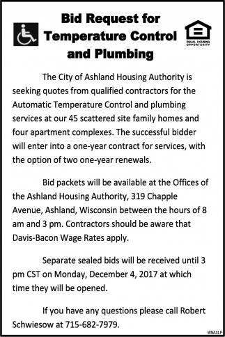 Bid Request for Temperature Control and Plumbing