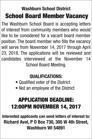 School Board Member Vacancy