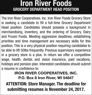 Grocery Department Head Position