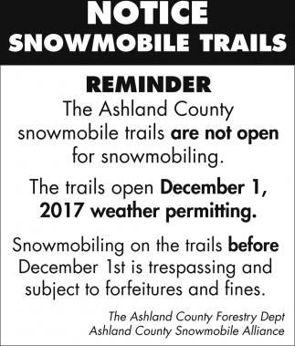 Notice Snowmobile Trails