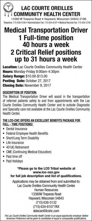 Medical Transportation Driver - Critical Relief