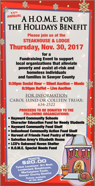 11th Annual A H.O.M.E for the Holidays Benefit