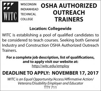 OSHA Authorized Outreach Trainers