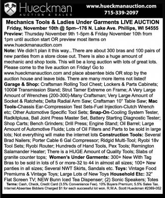 Mechanics tools & ladies under garments live auction