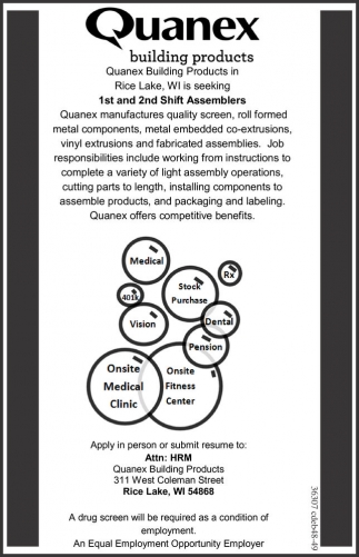 1st and 2nd shift assemblers quanex building products for Quanex building products