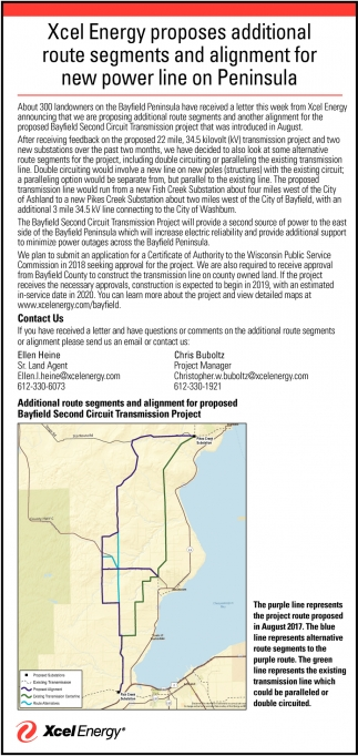Additional route segments and alignment for new power line on Peninsula