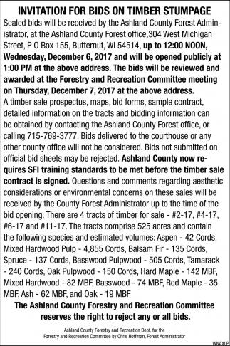 Invitation for bids on timber stumpage