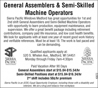 General Assemblers & Semi-Skilled Machine Operators