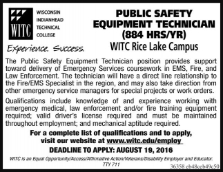 PUBLIC SAFETY EQUIPMENT TECHNICIAN (884 HRS/YR)