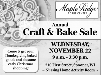 Annual Craft & Bake Sale