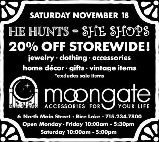 20% off storewide!