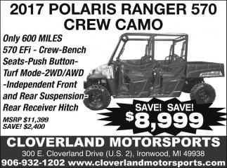 2017 Polaris Ranger  570 Crew Camo
