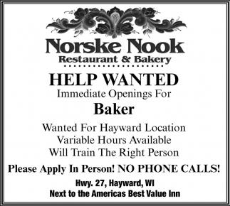 Help Wanted - Baker