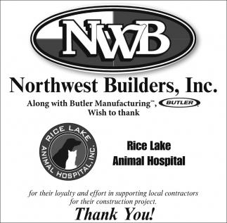 Wish to thank Rice Lake Animal Hospital