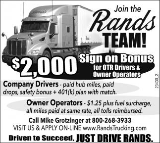Company Drivers / Owner Operators