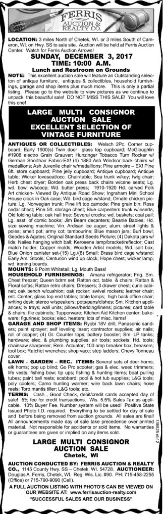 Large Multi-Consignor Auction Sale