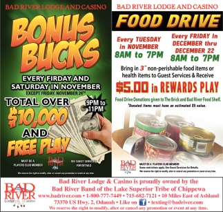 Bonus Bucks / Food Drive