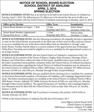 Notice of School Board Election