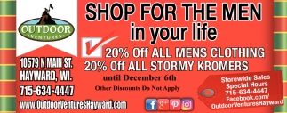 20% off all mens clothing