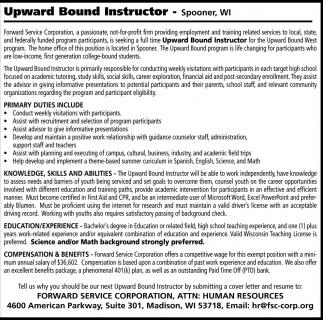upward bound instructor forward service corporation madison wi