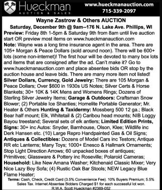 Wayne Zastrow & Others Auction