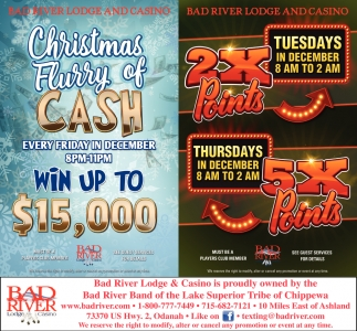 2X Points / Christmas Flurry of Cash