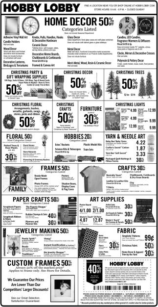 Home Decor 50% off, Hobby Lobby Rice Lake, Rice Lake, WI