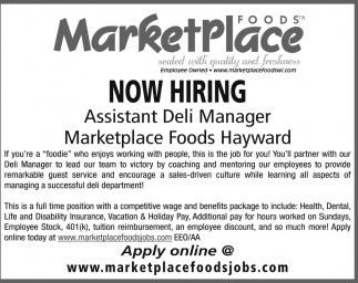 Assistant Meat Department Manager Marketplace Foods Rice Lake Wi