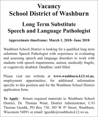 washburnk12 Vacancy, School District of Washburn, Washburn, WI