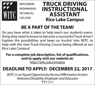 Truck Driving Instructional Assistant