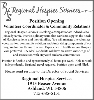 Volunteer Coordinator & Community Relations