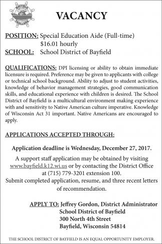bayfield school district wi