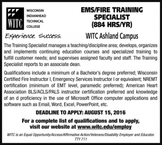 EMS/FIRE TRAINING SPECIALIST (884 HRS/YR)