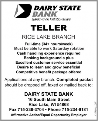 Dairy State Bank Teller Employment Ads From Rice Lake