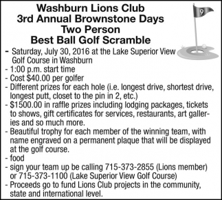 3rd Annual Brownstone Days Two Person Best Ball Golf Scramble