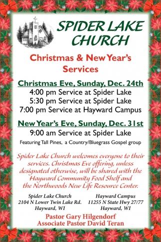 Christmas & New Year\'s Services, Spider Lake Church - Hayward ...