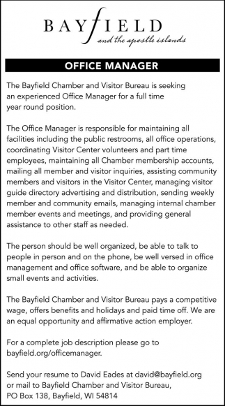 Office Manager Bayfield Chamber And Visitor Bureau