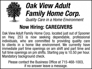 Now Hiring: CAREGIVERS