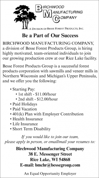 Production Crew, Birchwood Manufacturing Company, Rice Lake, WI