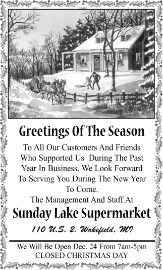 Greetings Of The Season Sunday Lake Super Market Wakefield Mi