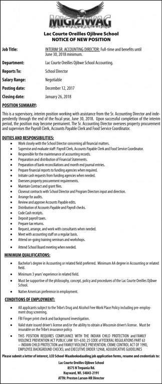 Notice of New Position