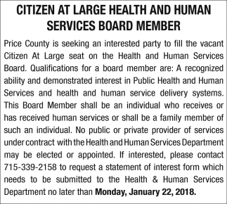 Citizen at Large Health and Human Services Board Member