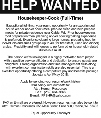 Help Wanted, Housekeeper/Cook - Cable